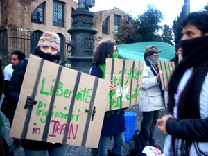 sit-in studenti iraniani roma