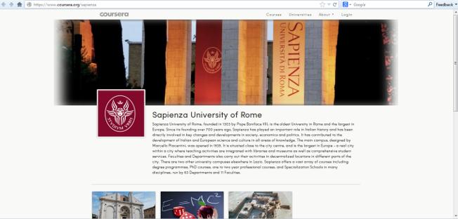 sapienza aderisce a coursera corsi gratuiti online